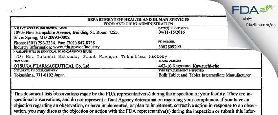 Otsuka Pharmaceutical FDA inspection 483 Apr 2016