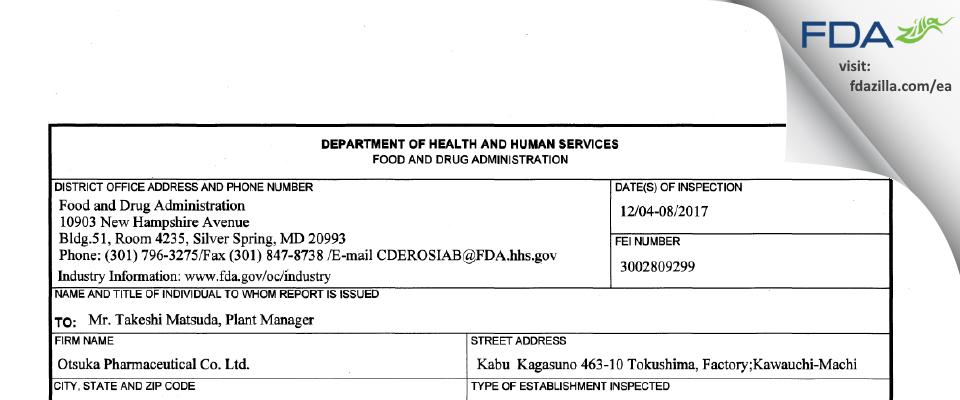 Otsuka Pharmaceutical FDA inspection 483 Dec 2017