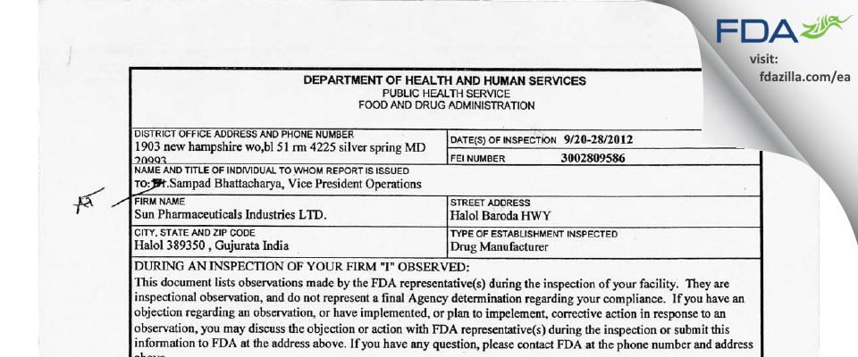 Sun Pharmaceutical Industries FDA inspection 483 Sep 2012