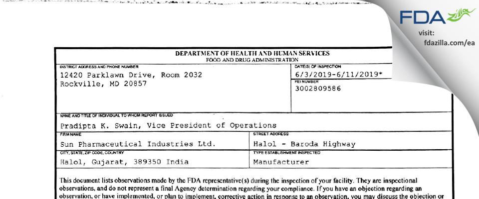 Sun Pharmaceutical Industries FDA inspection 483 Jun 2019