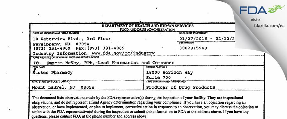 Stokes Healthcare FDA inspection 483 Feb 2016