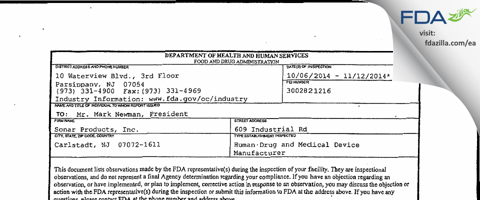 Sonar Products FDA inspection 483 Nov 2014