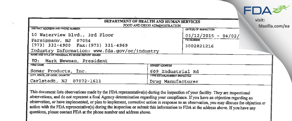 Sonar Products FDA inspection 483 Apr 2015