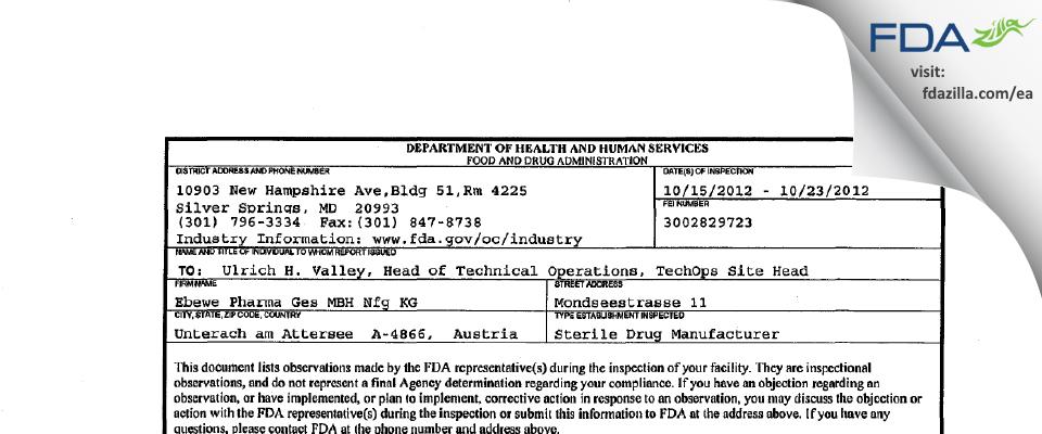 Ebewe Pharma Ges.m.b.H.Nfg. KG FDA inspection 483 Oct 2012