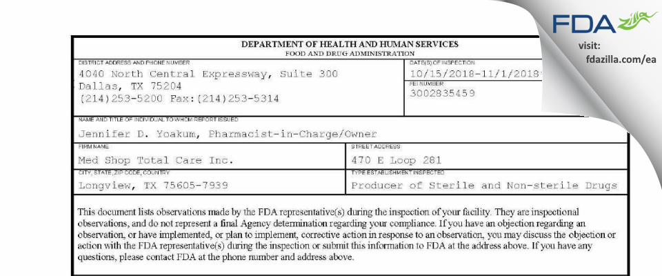 Med Shop Total Care FDA inspection 483 Nov 2018