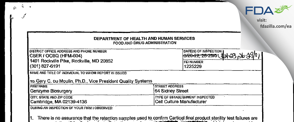 Vericel FDA inspection 483 Mar 2001