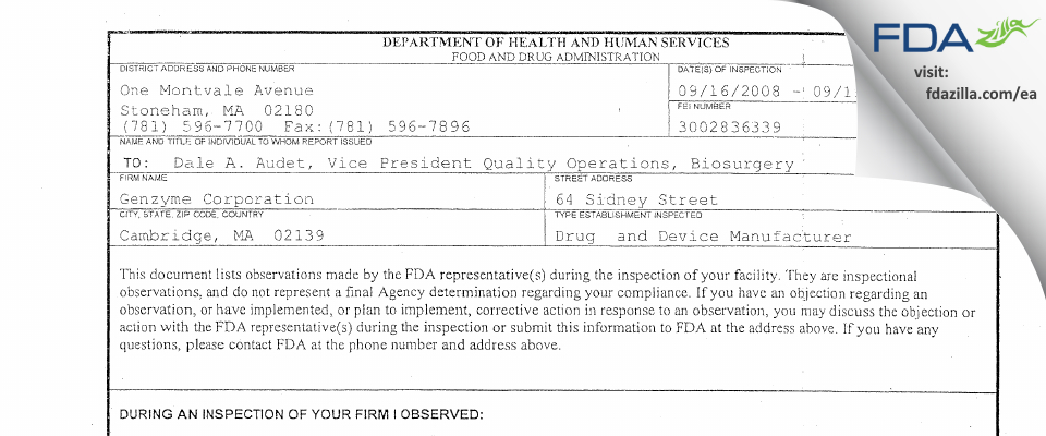 Vericel FDA inspection 483 Sep 2008
