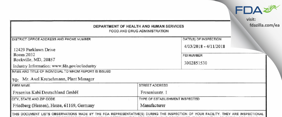 Fresenius Kabi Deutschland FDA inspection 483 Apr 2018