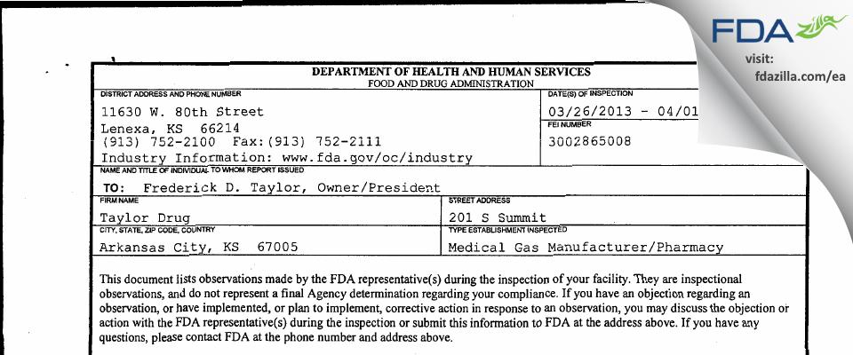 Taylor Drug FDA inspection 483 Apr 2013