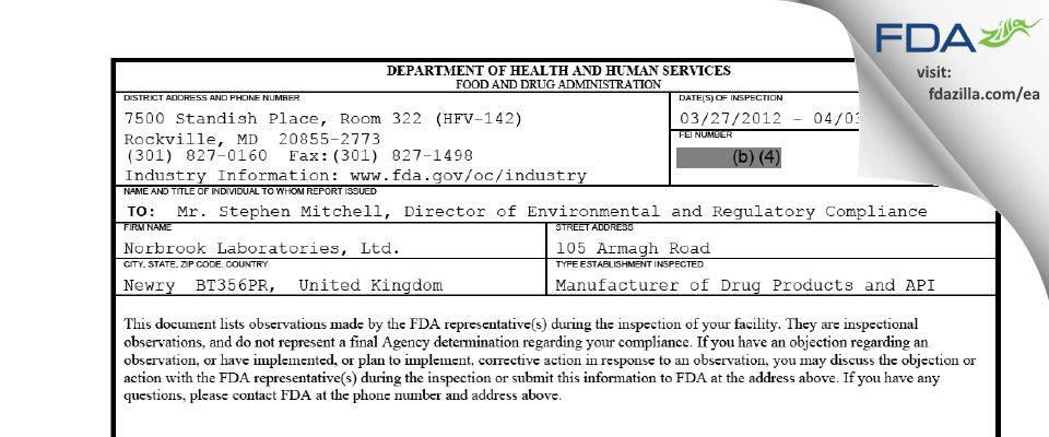 Norbrook Labs FDA inspection 483 Apr 2012