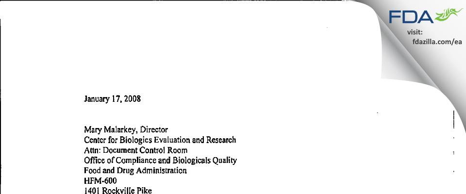 GlaxoSmithKline Biologicals SA FDA inspection 483 Dec 2007