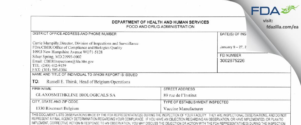 GlaxoSmithKline Biologicals SA FDA inspection 483 Jan 2017