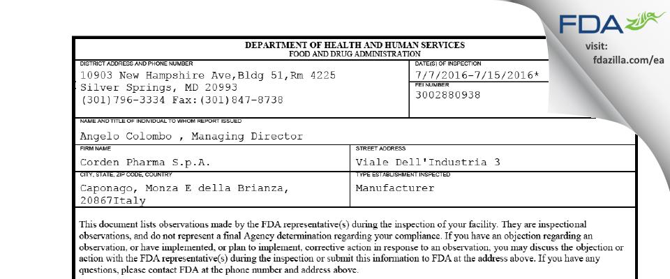 Corden Pharma S.p.A. FDA inspection 483 Jul 2016