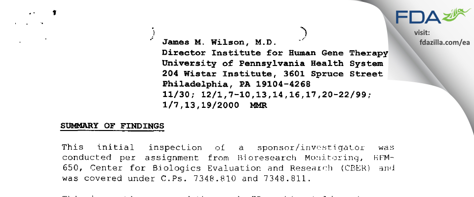 James M. Wilson, MD FDA inspection 483 Jan 2000