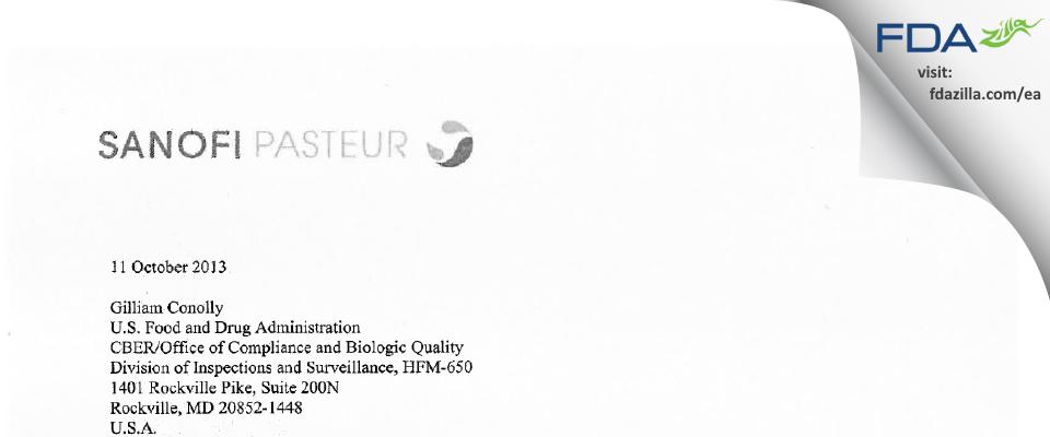 Sanofi Pasteur Limited - Cannaught Campus FDA inspection 483 Sep 2013