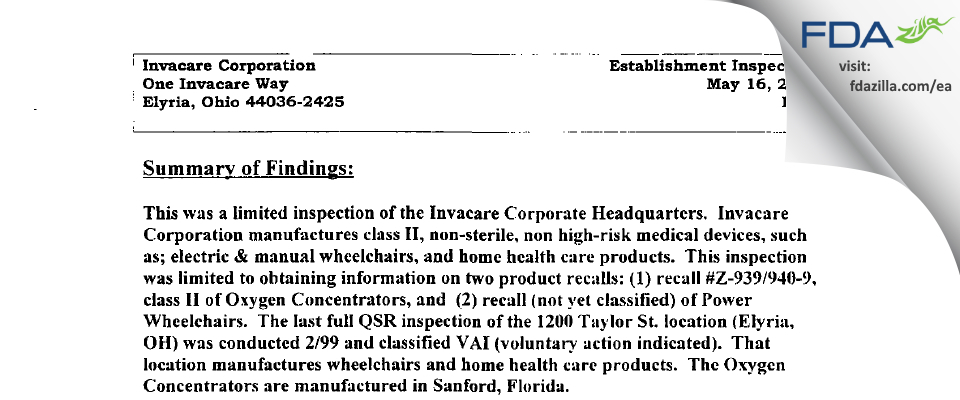 Invacare FDA inspection 483 May 2000