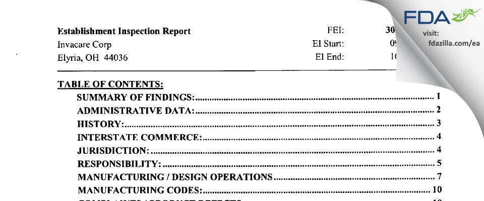 Invacare FDA inspection 483 Oct 2002
