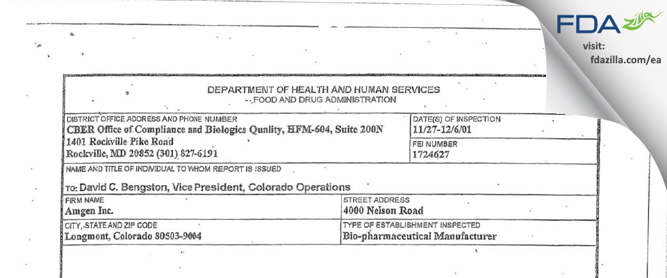 Amgen FDA inspection 483 Dec 2001