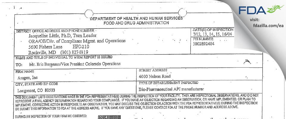 Amgen FDA inspection 483 Jul 2004