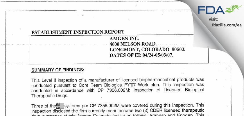 Amgen FDA inspection 483 May 2007