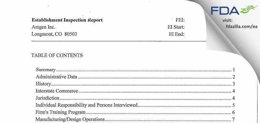 Amgen FDA inspection 483 Sep 2010