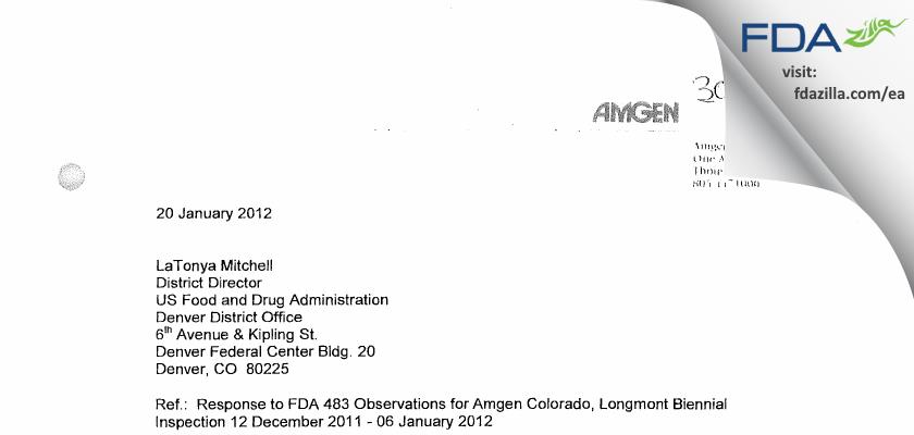Amgen FDA inspection 483 Jan 2012