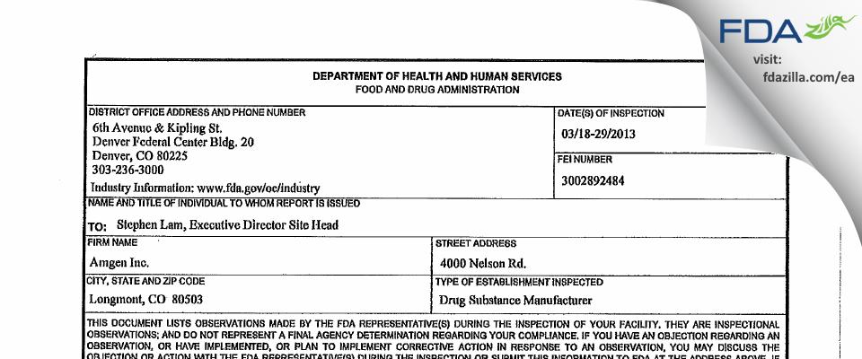 Amgen FDA inspection 483 Mar 2013