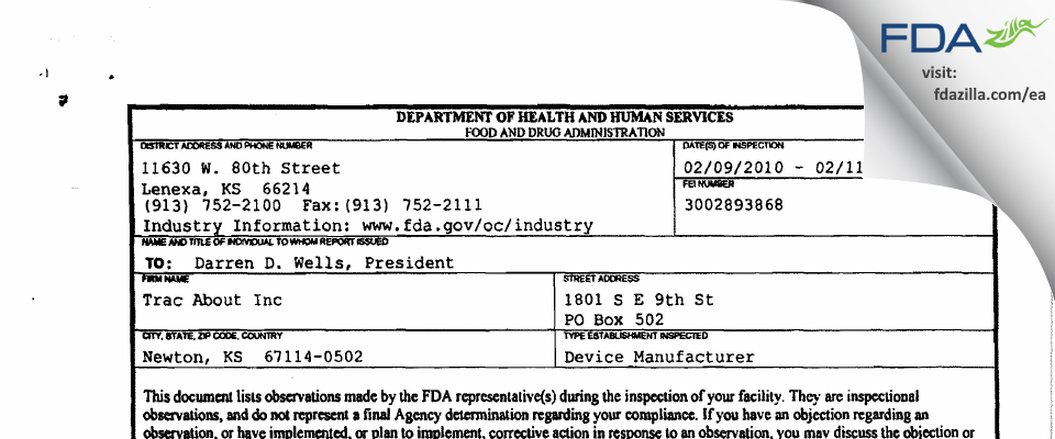Trac About FDA inspection 483 Feb 2010