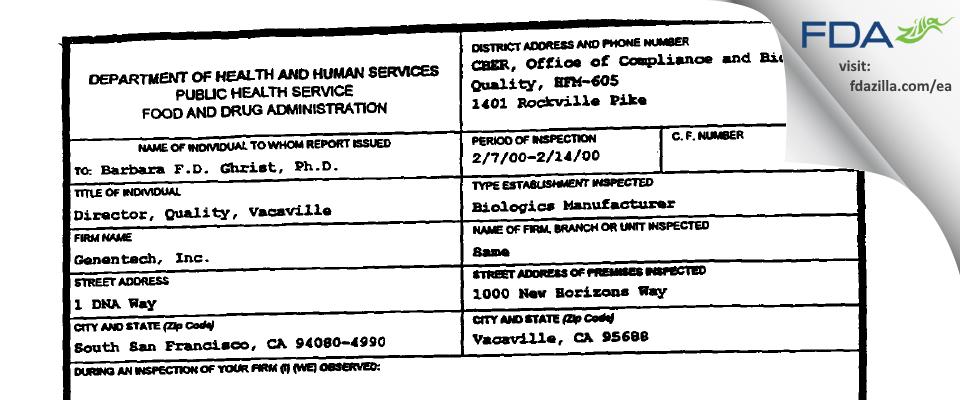 Genentech FDA inspection 483 Feb 2000
