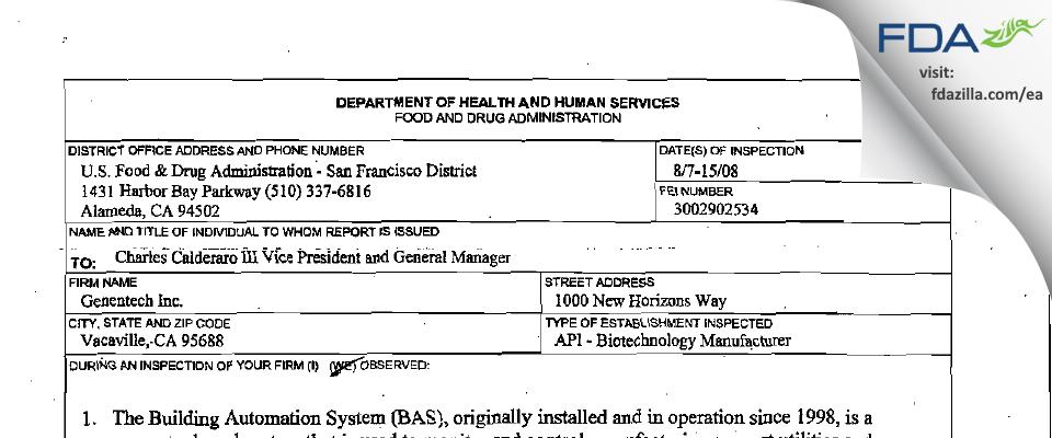 Genentech FDA inspection 483 Aug 2008