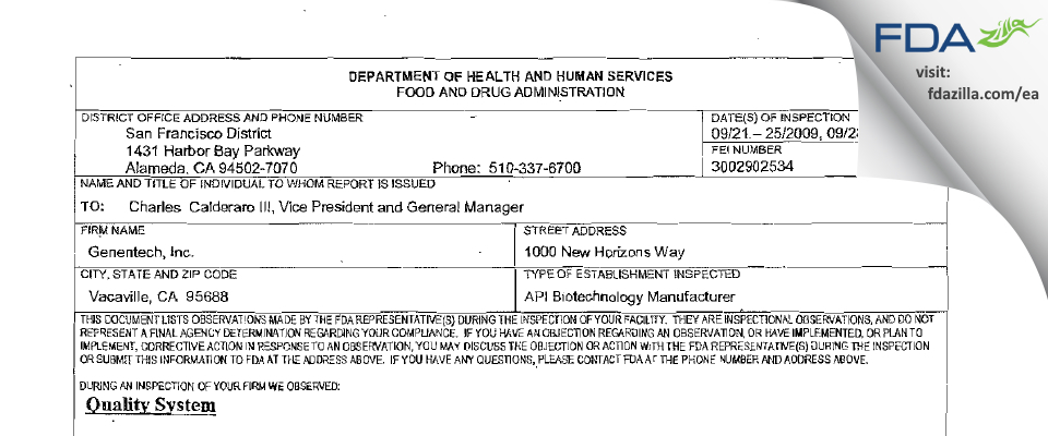 Genentech FDA inspection 483 Sep 2009