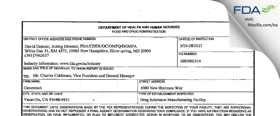 Genentech FDA inspection 483 Mar 2012