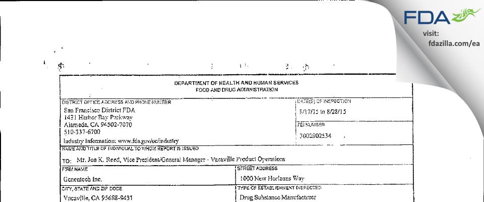 Genentech FDA inspection 483 Aug 2015