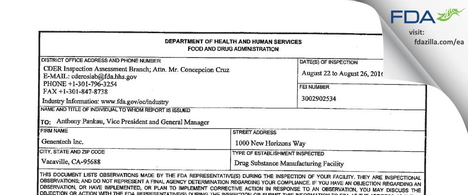 Genentech FDA inspection 483 Aug 2016