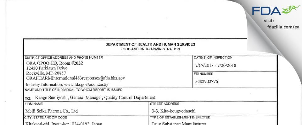 Meiji Seika Pharma FDA inspection 483 Jul 2018