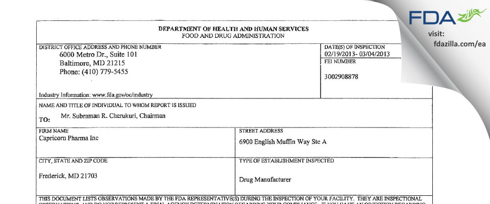 Izeen Pharma FDA inspection 483 Mar 2013