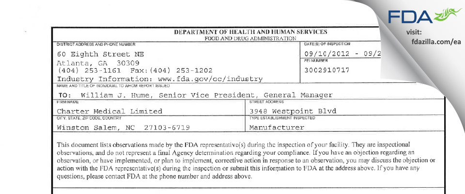 Charter Medical FDA inspection 483 Sep 2012