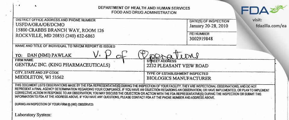 GenTrac (a Pfizer company) FDA inspection 483 Jan 2010