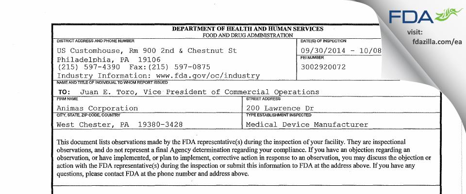 Animas FDA inspection 483 Oct 2014