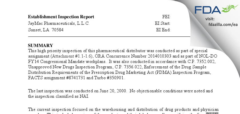 Jaymac Pharmaceuticals FDA inspection 483 Apr 2014