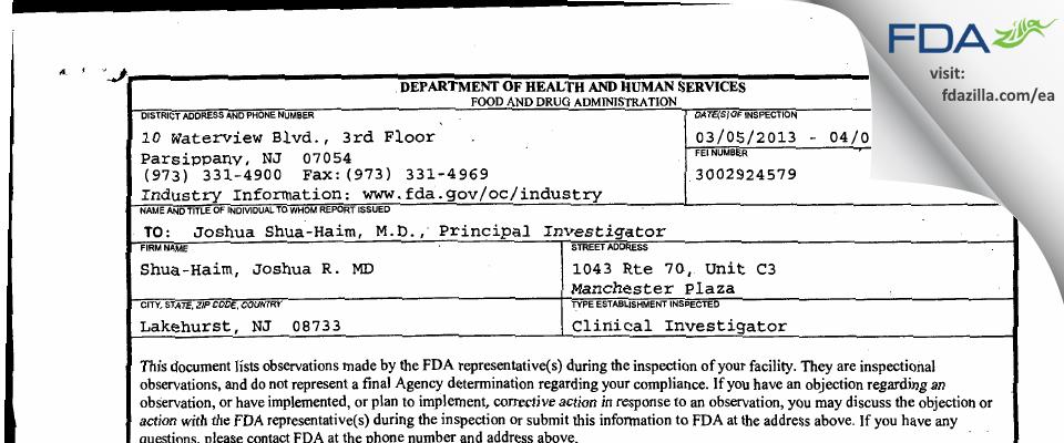 Shua-Haim, Joshua R. MD FDA inspection 483 Apr 2013