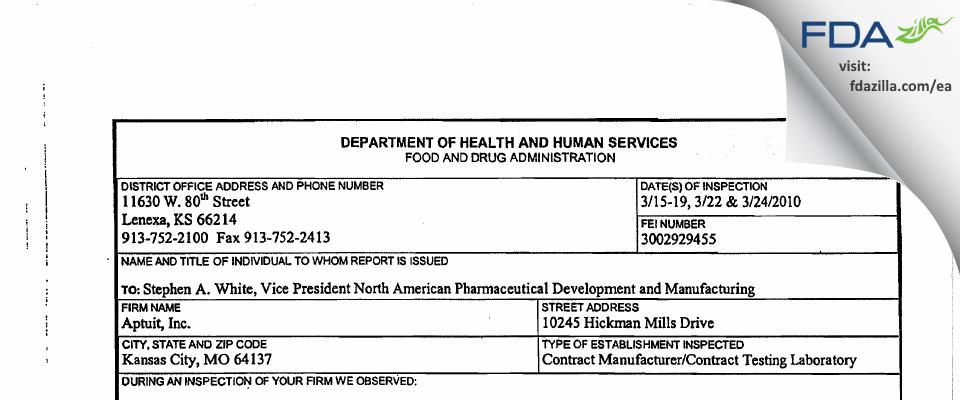 Catalent CTS (Kansas City) FDA inspection 483 Mar 2010