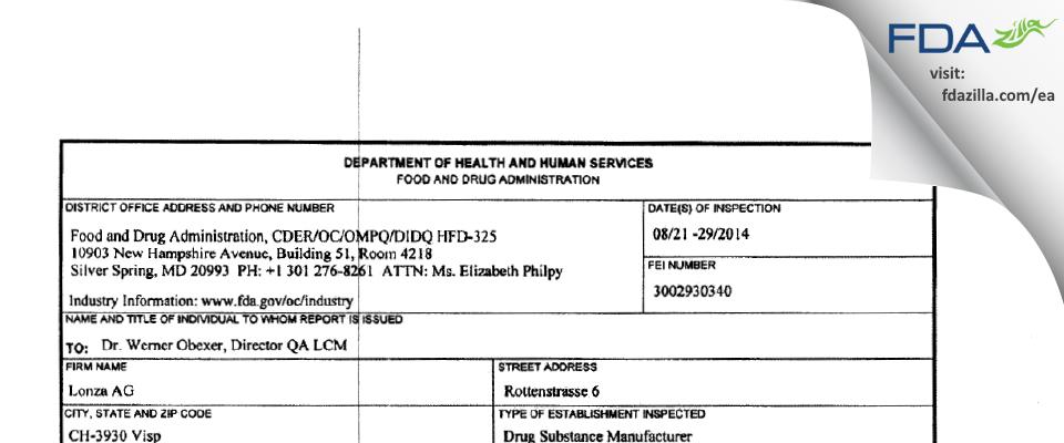 Lonza AG FDA inspection 483 Aug 2014
