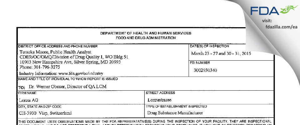 Lonza AG FDA inspection 483 Mar 2015