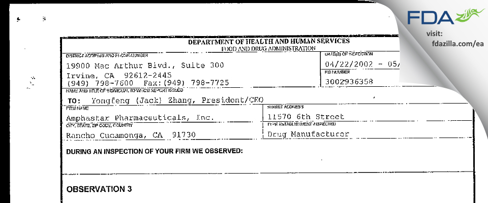 Amphastar Pharmaceuticals FDA inspection 483 May 2002