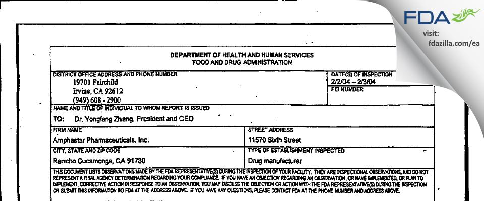 Amphastar Pharmaceuticals FDA inspection 483 Feb 2004