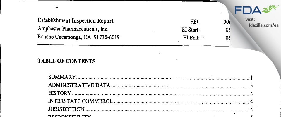 Amphastar Pharmaceuticals FDA inspection 483 Jun 2004