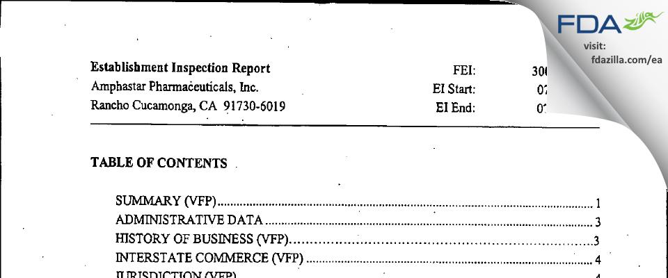 Amphastar Pharmaceuticals FDA inspection 483 Jul 2004