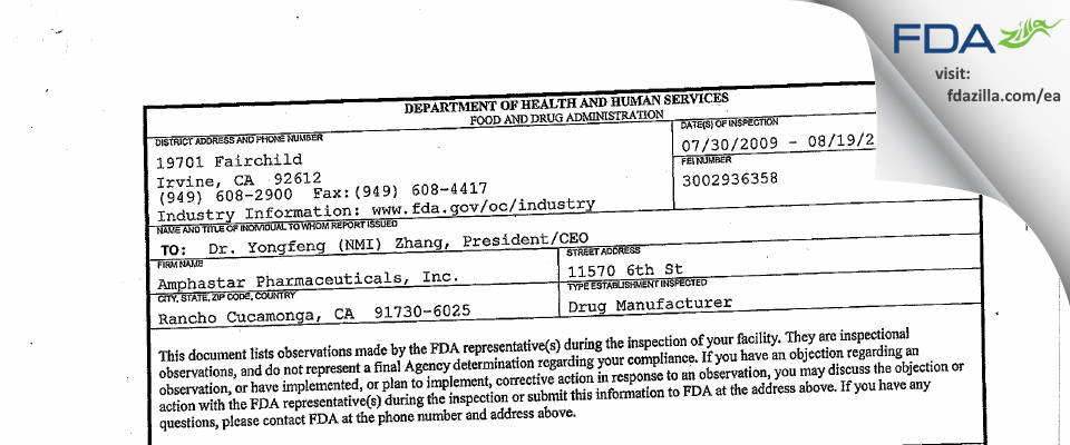 Amphastar Pharmaceuticals FDA inspection 483 Aug 2009