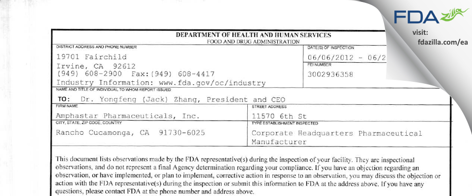 Amphastar Pharmaceuticals FDA inspection 483 Jun 2012